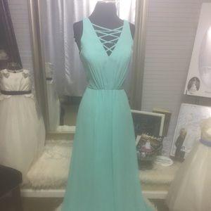 Tiffany Blue Chiffon Bridesmaids Dress